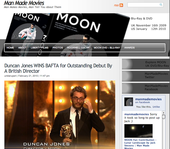 Man Made Movies Blog - Click Here for News on MOON & Source Code